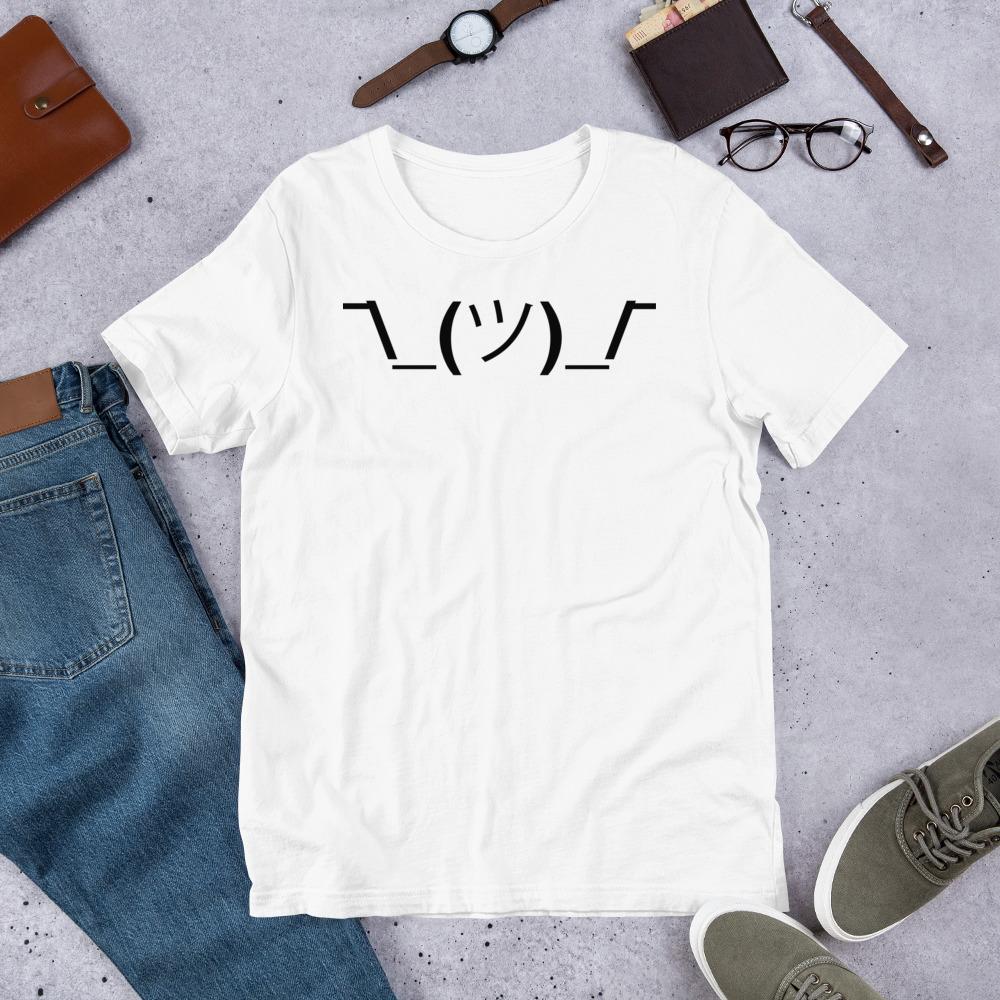 614ee0bb Shrug Emoticon Short-Sleeve Unisex T-Shirt   Gift for Programmers ...